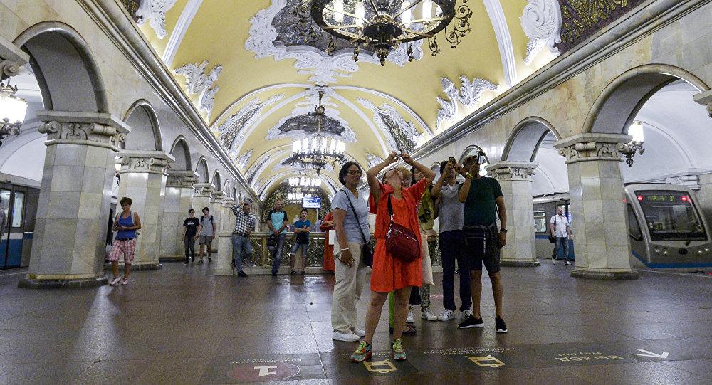 Tourists at Komsomolskaya station of the Moscow metro
