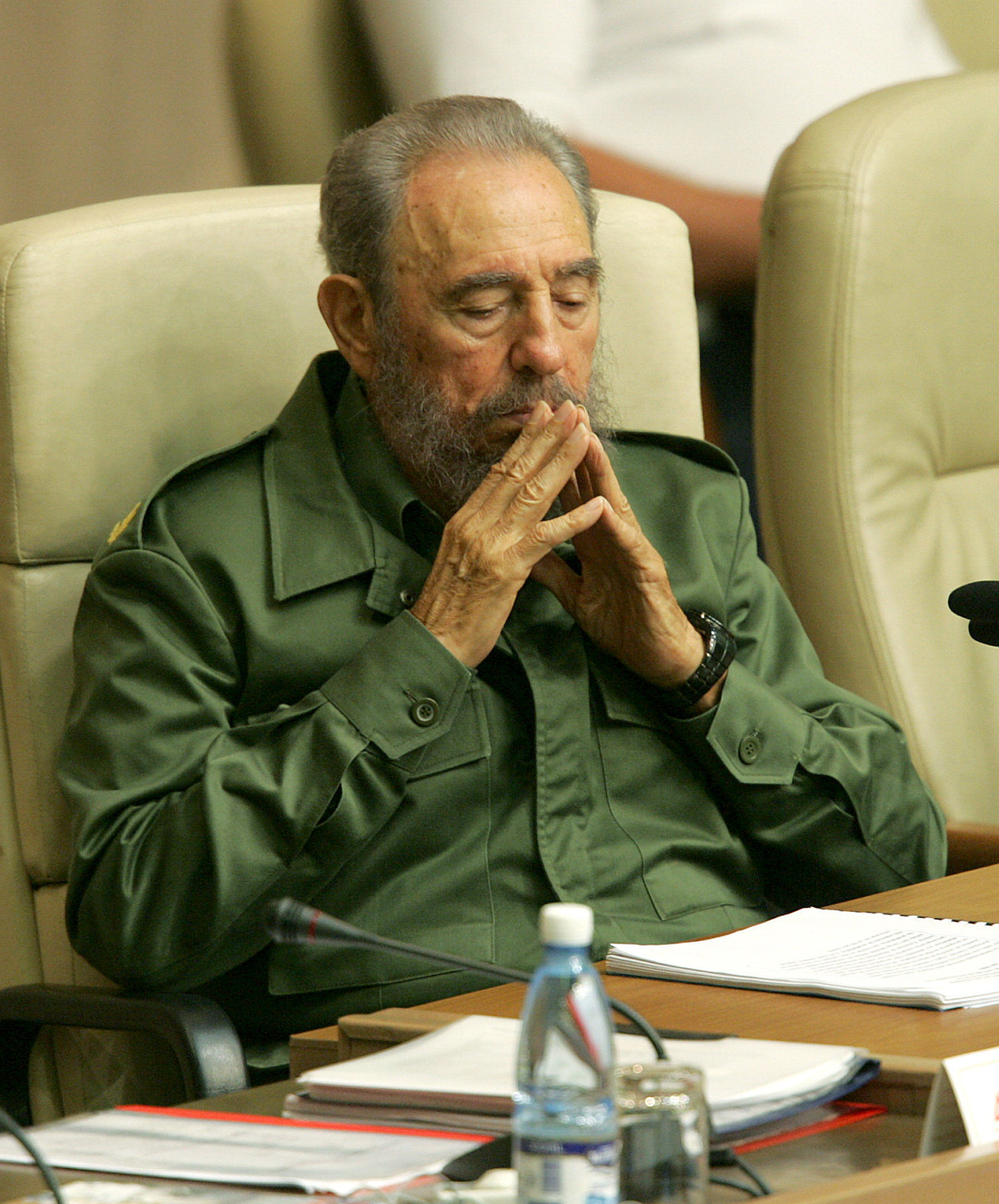 This file photo taken on June 9, 2006 shows Cuban president Fidel Castro attending the closing ceremony at the International Seminar on Literacy and Post Literacy Policies, in Havana