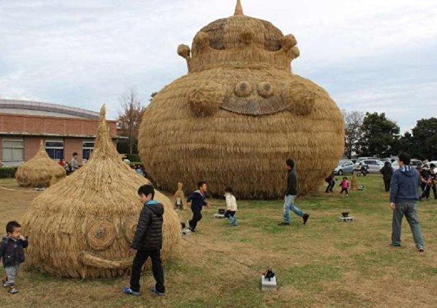 Huge straw art: Slime appeared!