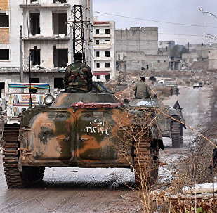 Syrian pro-government forces set up an outpost on December 2, 2016 in the Aleppo's eastern neighbourhood of Sakan al-Shababi after they retook from rebel fighters