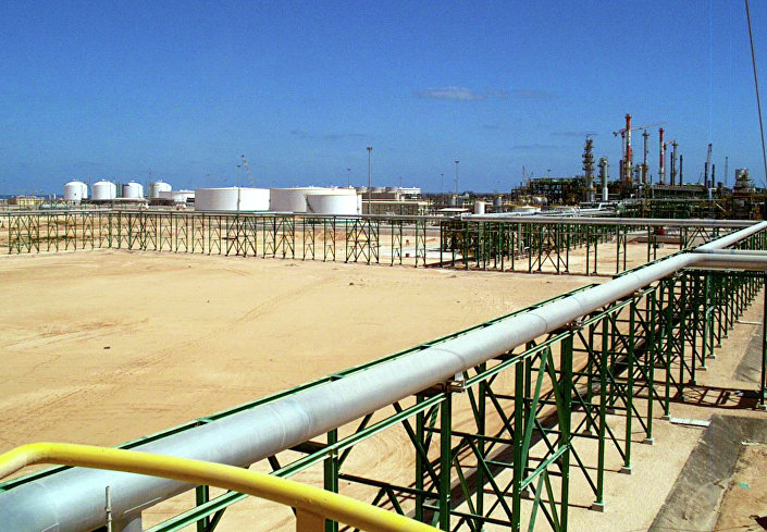 An undated but recent handout picture showing the new Eni (The Italian oil and gas company) gas compression plant settled on the shore of Mellitah.