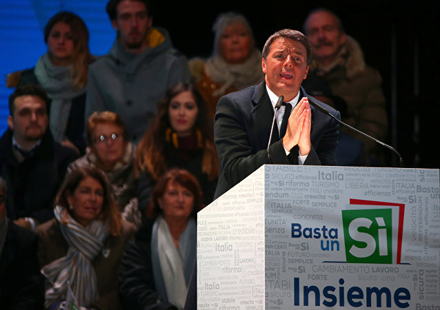 Italian Prime Minister Matteo Renzi speaks during the last rally for a Yes vote in the upcoming referendum about constitutional reform, in Florence, Italy, December 2, 2016.