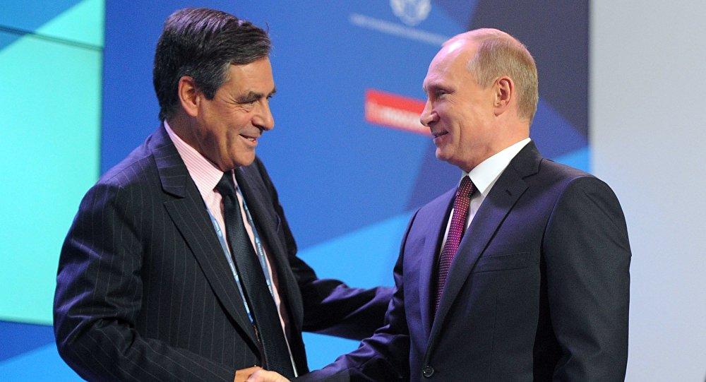 Vladimir Putin and Francois Fillon