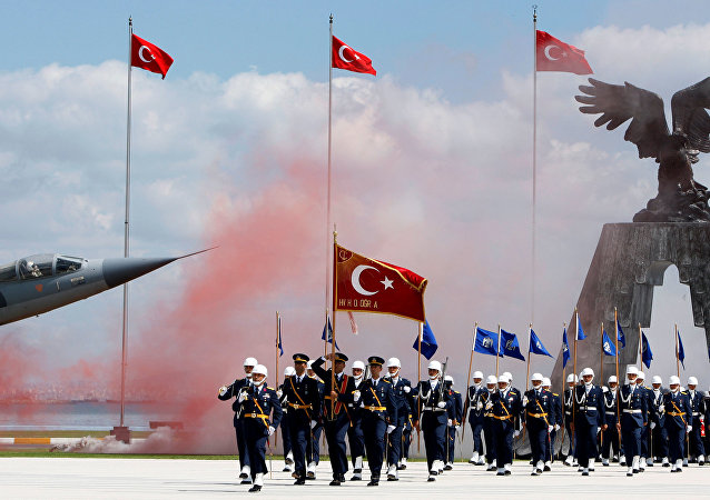 Newly graduated air force cadets march during their graduation ceremony at the Air Force war academy in Istanbul, Turkey, August 31, 2009.