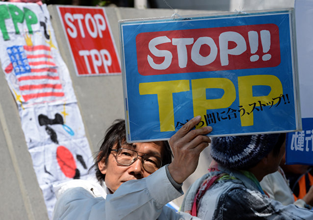 A demonstrator displays a placard to protest against the Trans Pacific Partnership (TPP) trade deal at a sit-in demonstration in front of the parliament building in Tokyo