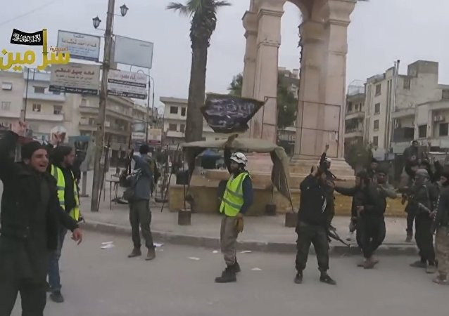Syrian White Helmets celebrating with Al-Nusra. YouTube clip.