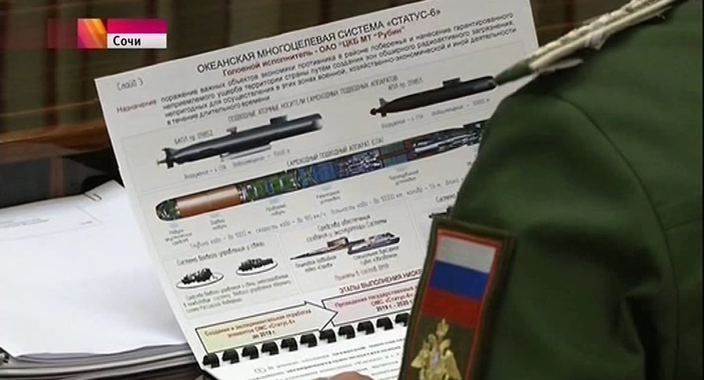 Screenshot of the top secret Status-6 nuclear-capable drone sub, made famous after accidentally appearing in a Russian television news report.
