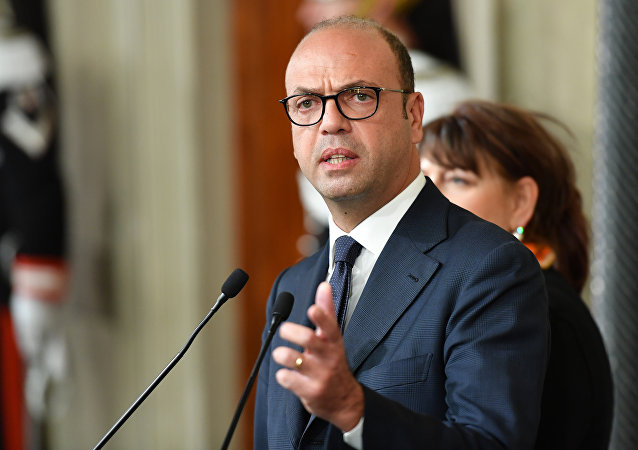 Angelino Alfano, Interior Prime Minister and leader of the New Center Right party speaks during a press point following a meeting with Italy's President Sergio Mattarella on December 10, 2016 at the Quirinale Palace in Rome