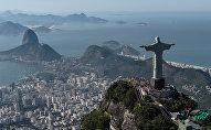 Aerial view of Christ the Redeemer statue, in Rio de Janeiro, Brazil, taken on June 26, 2014