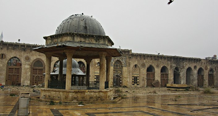 Courtyard of Umayyed Mosque, Old City used as a sniper stronghold by Nusra Front and Ahrar al Sham