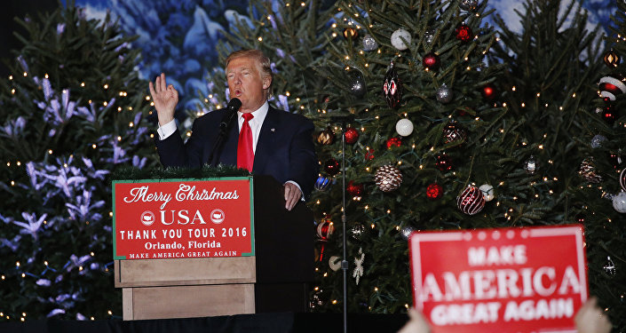 US President-elect Donald Trump speaks during a USA Thank You Tour event in Orlando, Florida, US.