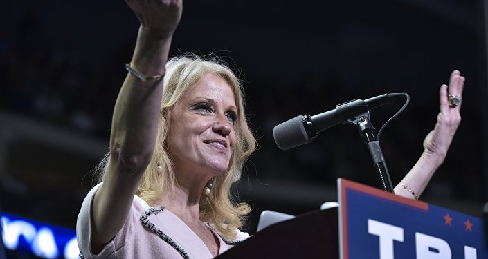 Trump campaign manager Kellyanne Conway speaks at a rally for Republican presidential nominee Donald Trump at the Giant Center in Hershey, Pennsylvania on November 4, 2016