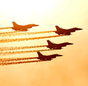 South Korean air force KF-16 jets perform a fly-by at the Seoul International Aerospace and Defence Exhibition 2009 at a military airport in Seongnam, south of Seoul on October 23, 2009