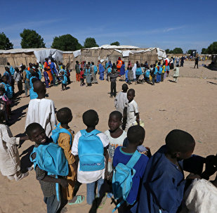 Children are seen at a Unicef school programme at the Muna internally displaced people (IDP) camp in Maiduguri, Nigeria December 1, 2016