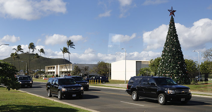 A motorcade with President Barack Obama aboard is seen from the media van as it drives from Marine Corps Base Hawaii, in Kaneohe Bay, Hawaii, Saturday, Dec. 17, 2016.