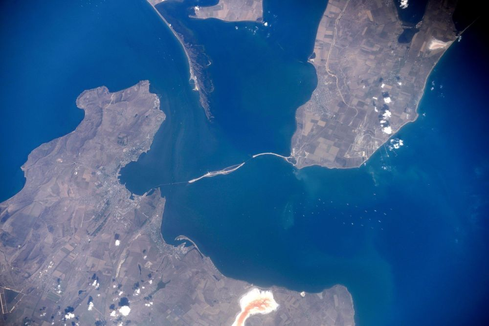 A satellite image of the construction site of the bridge across the Kerch Strait