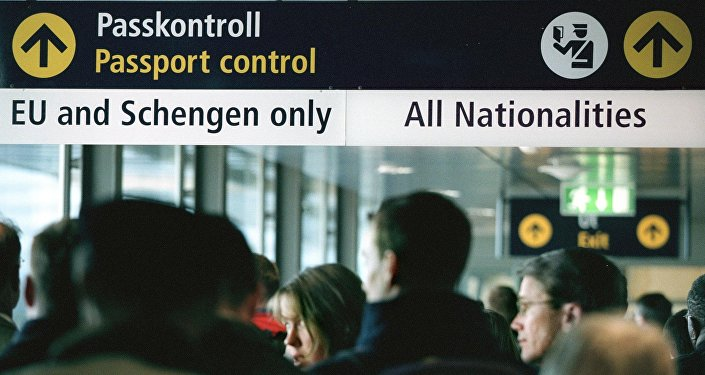 Travellers queue for passport control  (File)
