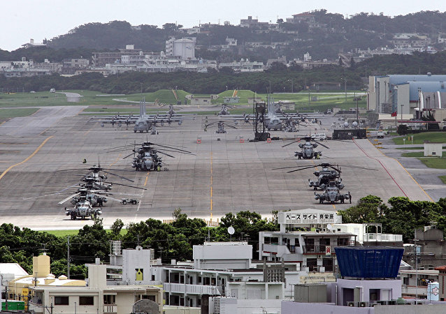 US helicopters and planes parked at Futenma US Marine Base in Ginowan, Okinawa Prefecture (File).