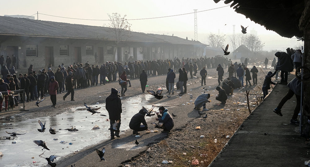Migrants stand in line to receive free food outside a derelict customs warehouse in Belgrade, Serbia December 21, 2016