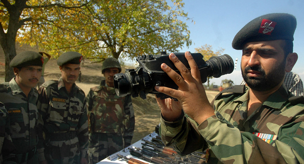 An Indian Army officer display night vision binoculars (File)