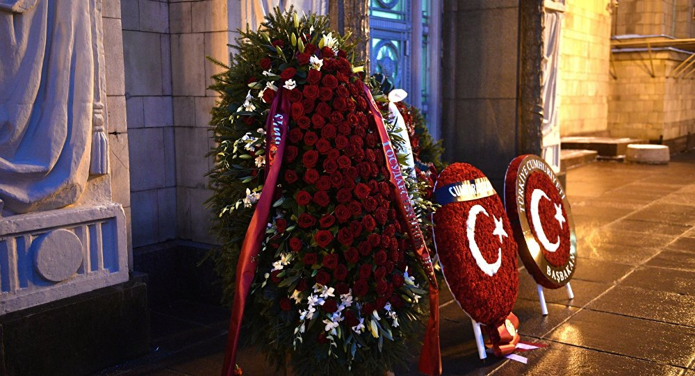 Wreaths sent by Turkey to commemorate Russian Ambassador to Turkey Andrei Karlov, at the entrance to Russian Foreign Ministry building in Moscow