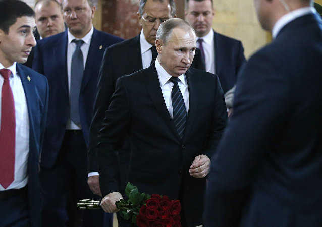 Russian President Vladimir Putin at the ceremony to pay last respects to Russian Ambassador to Turkey Andrei Karlov, at the Russian Foreign Ministry
