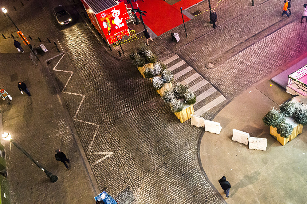 An aerial picture taken from the big wheel shows concrete blocks placed on the road near the winter wonders Christmas market, in Brussels