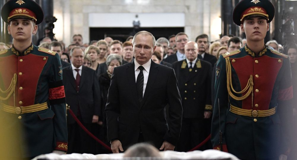 Russian President Vladimir Putin at the ceremony to pay last respects to Russian Ambassador to Turkey Andrei Karlov, at the Russian Foreign Ministry. The ambassador was assassinated in Ankara