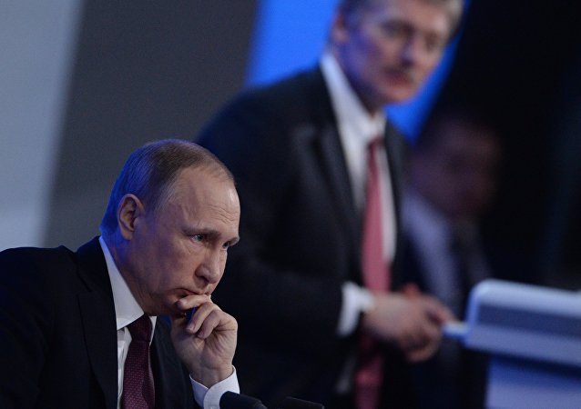 President Vladimir Putin during his twelfth annual news conference at Moscow's World Trade Center in Krasnaya Presnya