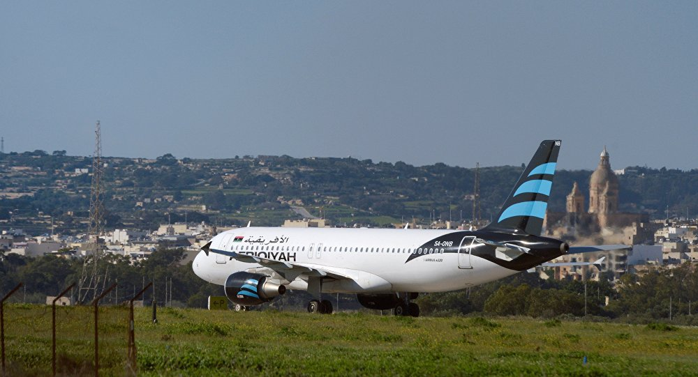 Hijacked Airbus A320 operated by Afriqiyah Airways after it landed at Luqa Airport, in Malta