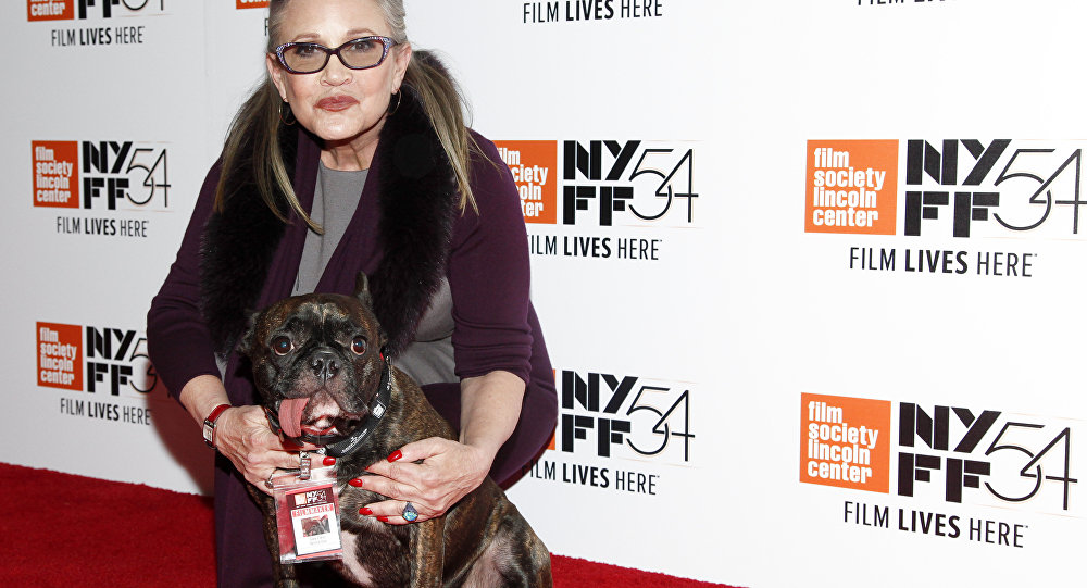 Carrie Fisher with her Service Dog Gary