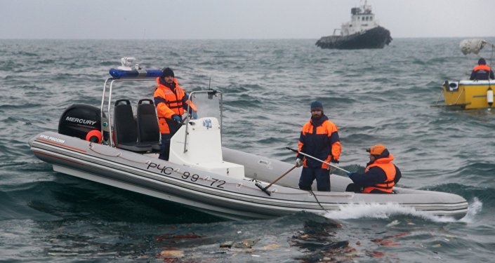 A rescue operation on the Black Sea coast at the crash site of Russian Defense Ministry's TU-154 aircraft
