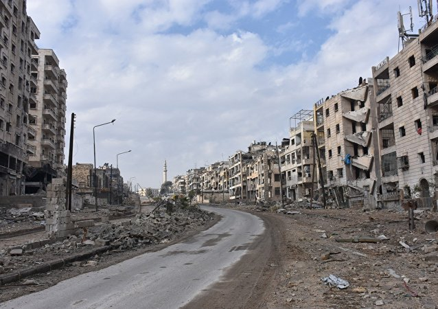 Destroyed quarters of liberated Aleppo.
