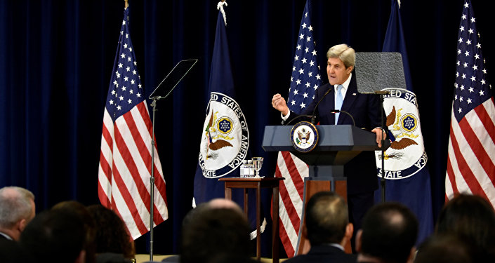 U.S. Secretary of State John Kerry delivers remarks on Middle East peace at the Department of State in Washington December 28, 2016