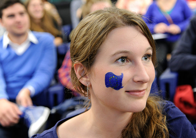 Girl with European Union flag on her cheek