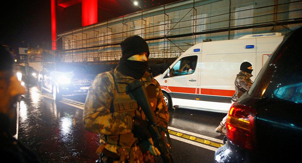 Police secure an area near an Istanbul nightclub, following a gun attack, Turkey, January 1, 2017.