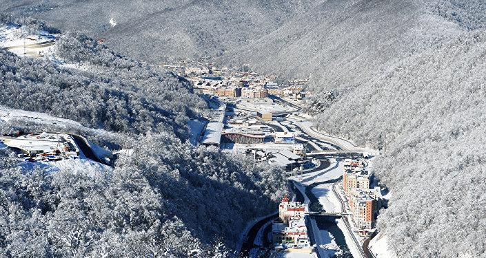 A view of the Rosa Khutor Alpine Resort and Krasnaya Polyana railway station in Adler District, Sochi. (File)