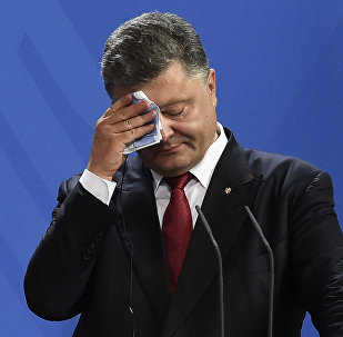 Ukrainian President Petro Poroshenko wipes his brow during a press conference with his German and French counterparts following talks at the chancellery in Berlin on August 24, 2015