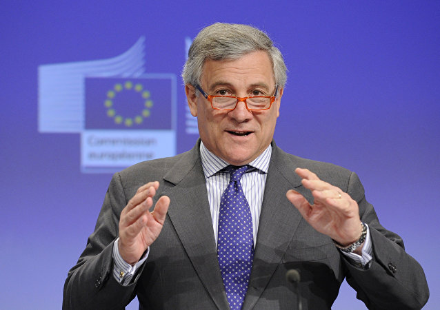 European Commission Vice President Antonio Tajani gives a press conference after the meeting Towards a more competitive and efficient European defence and security sector at the EU Headquarters in Brussels on July 24, 2013