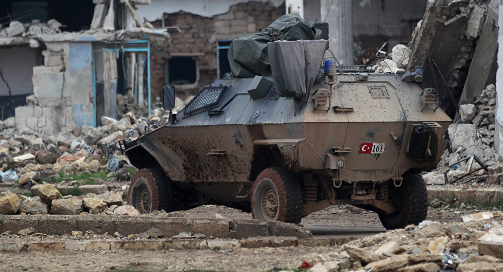 A Turkish military armored vehicle drives in the northern Syrian rebel-held town of al-Rai, Syria January 5, 2017