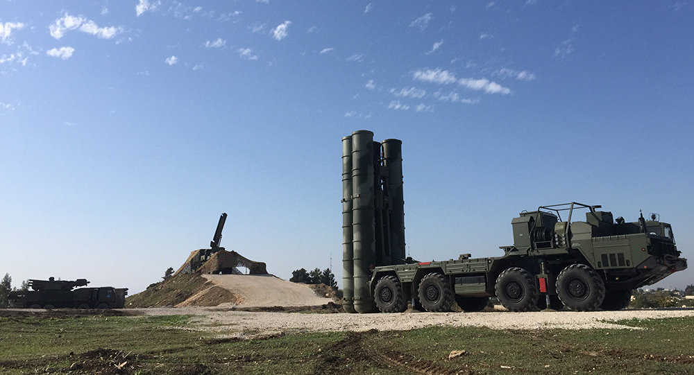 An S-400 air defence missile system deployed for a combat duty at the Hmeymim airbase to provide security of the Russian air group's flights in Syria