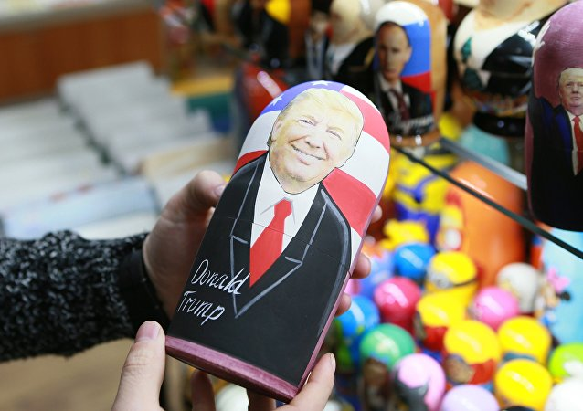 A Russian matryoshka doll with an image of US presidential candidate Donald Trump at a gift shop