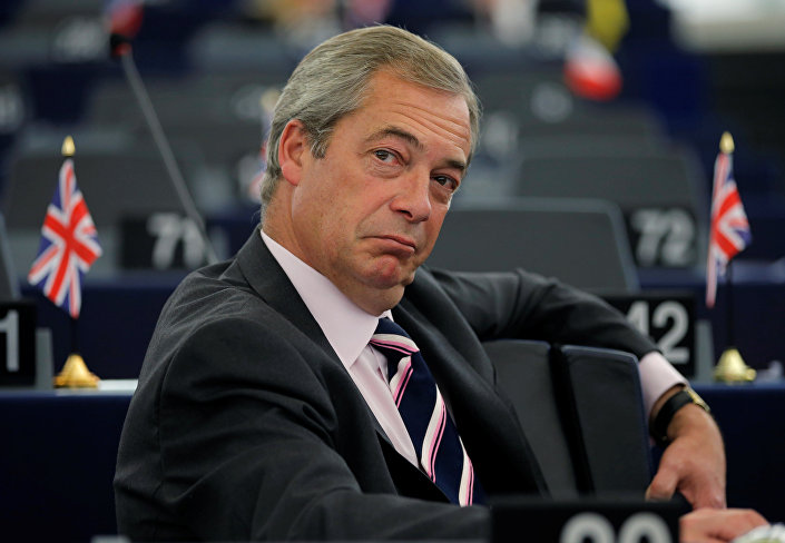 Nigel Farage, United Kingdom Independence Party (UKIP) member and MEP waits for the start of a debate on the last European Summit at the European Parliament in Strasbourg, France, October 26, 2016.