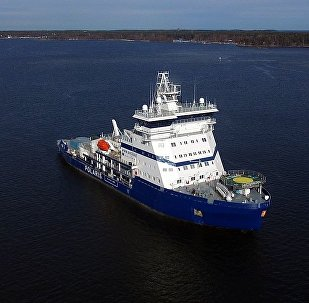 Icebreaker Polaris undergoing bollard pull tests as part of sea trials off Helsinki on 25 April 2016