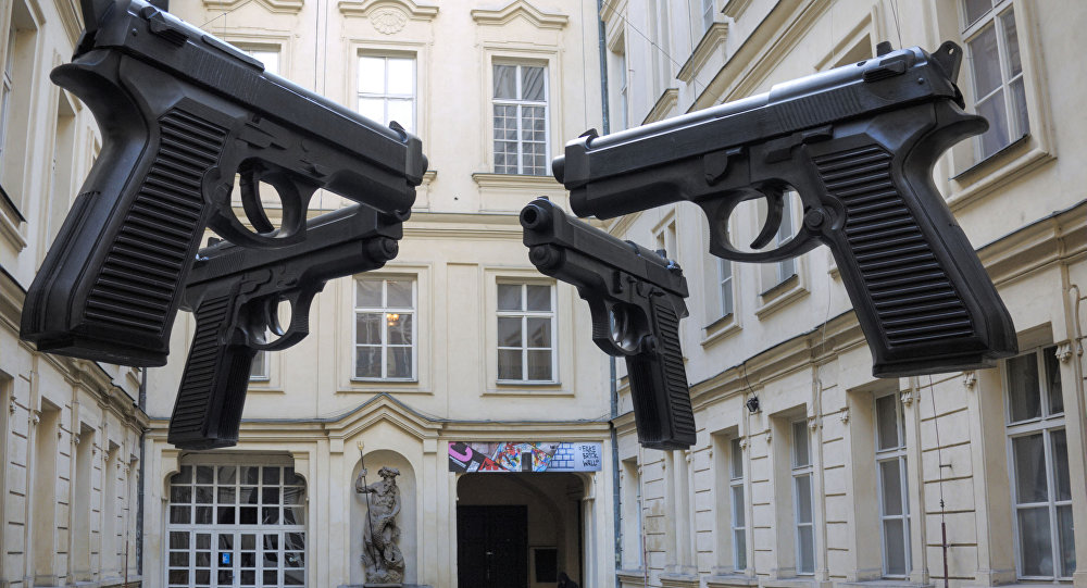 David Cerny's Guns installation at the Artbanka Museum of Young Art, Prague, Czech Republic