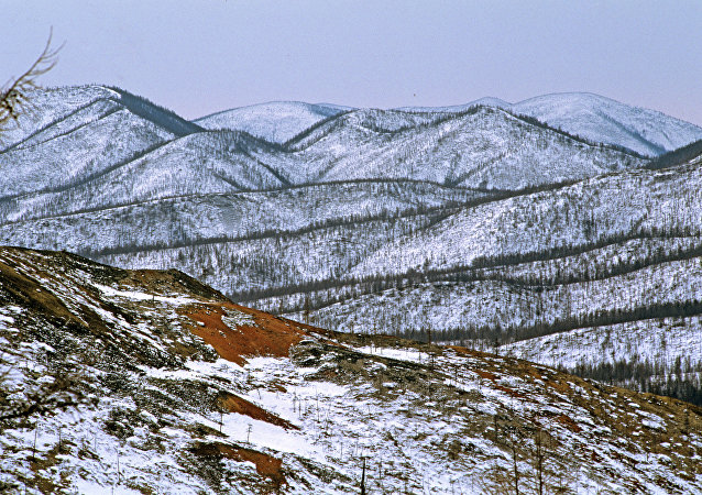 Dzhugdzhur mountain range in northern Khabarovsk Region. The area is known for its gold mining operations.