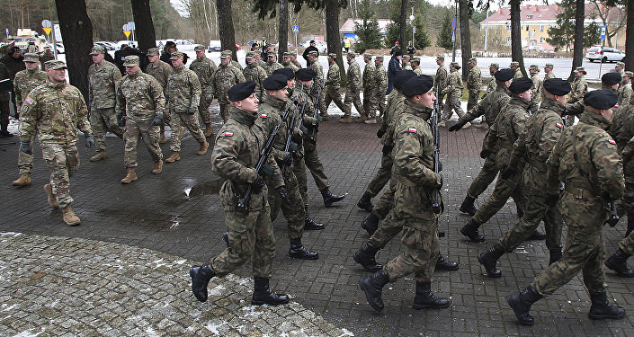 The official welcome ceremony for the US troops convoy in Zagan, Poland, Thursday, Jan. 12, 2017