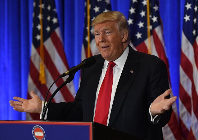 US President-elect Donald Trump speaks during a press conference January 11, 2017 at Trump Tower in New York