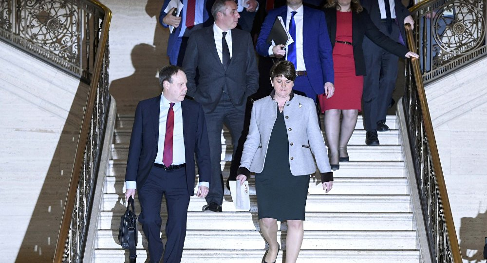 Northern Ireland First Minister and leader of the Democratic Unionist Party Arlene Foster arrives to make a statement at Parliament Buildings in Stormont in Belfast, Northern Ireland, January 16, 2017.