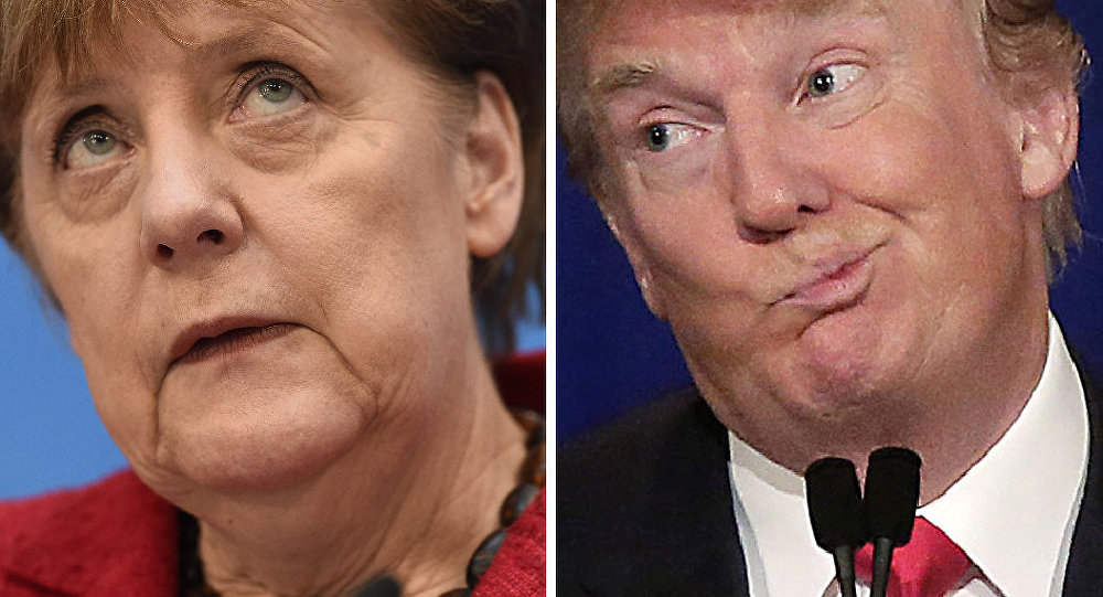 This combination of file photos created on January 16, 2017 shows then Republican US presidential candidate Donald Trump (November 10, 2015 in Milwaukee, Wisconsin) and German Chancellor Angela Merkel (L, March 14, 2016 in Berlin).